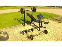 Weights 100kg and weight bench