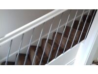 10 Powder Coated Metal Penny Stair Spindles 750 mm (Staircase DIY Steel Silver)