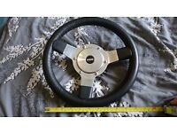 Classic Mini Steering Wheel Black Leather (may fit kit car or other classic)