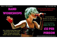 Rock/Pop Band Workshops for 12 to 17yrs and Adults