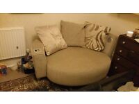 Mocha DFS cuddler sofa with integrated speakers good condition no pets