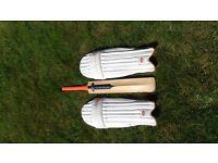 Newbery cricket bat and pads