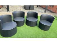 USED: Rattan Garden Furniture Set Egg Chair - 4 Chairs & Table with Cushions