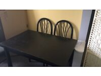 Black Ash dining table and chairs