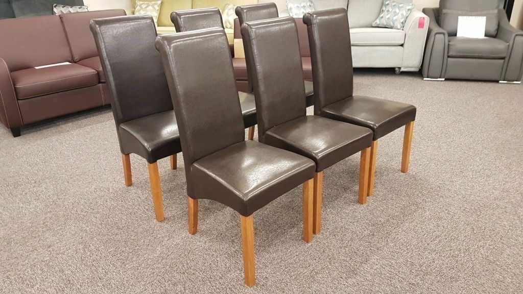 6 Julian Bowen Cuba Brown Faux Leather Dining Chairs Free Delivery Derby Nottingham Viewing Welcome