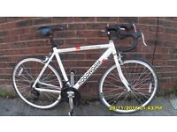 WHITE LIGHTNING 21 SPEED RACING BIKE LIGHTWEIGHT 21in/53cm ALLOY FRAME VERY CLEAN JUST SERVICED