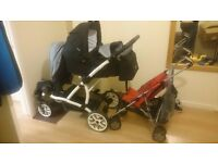 DOUBLE PRAM for newborn and toddler (VERY UNUSUALL)