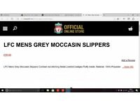 LFC Mens Grey Moccasin Slippers size 9