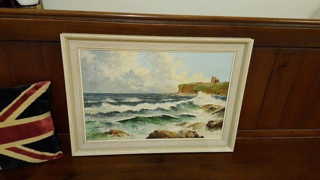 large oil painting Tynemouth Priory vintage item in original frame