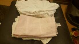 Moses basket fitted sheets and cellular blankets