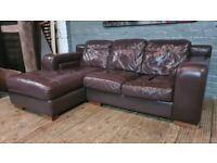 REAL LEATHER CORNER SOFA REAL NICE VERY COMFY CAN DELIVER