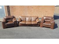 Cute brown leather 3 piece sofa suite. 3+1+1. few scratches around. can deliver