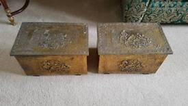 Pair of brass boxes