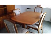 Mackintosh teak dining table and 4 chairs