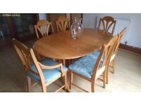 Dinning Table and Chairs, solid wood ash table in perfect condition