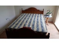 Double bed wood frame and mattrece
