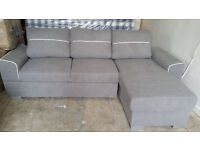 NEW Grey Fabric Right Hand Corner Sofa bed with storage ottoman sofabed Free Local Delivery