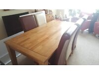 Extendable large oak dining table