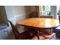 Solid Pine Dining Table inc 6 chairs
