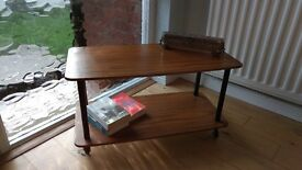 Vintage Mid Century 2 Tier Retro Antique Coffee Table on Casters by Formwood
