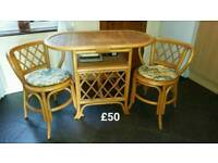 Cane table and 2 seats set