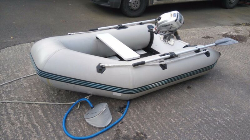 2-3 man boat, Rubber dinghy, rib with Honda 2hp 4 stroke outboard motor for sale  Londonderry, County Londonderry