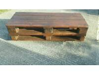 Reclaimed pallet coffee table on wheels