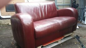 leather 2 seat sofa and chair