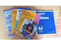 Bundle of partially used packs of Inkjet Printer Photo Picture Paper & CD/DVD Labels