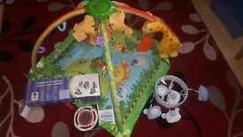 FISHER PRICE PLAYMAT AND 2 COT MOBILES