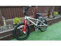 Bmx silver... very chunky. Front disc brakes. Bars on front and back wheels to stand on.