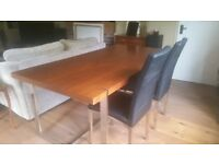 Walnut Effect Dining Table Seats 6 and 6 Black Dining Chairs