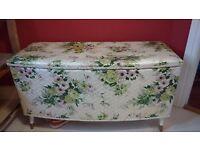 Vintage flower print storage ottoman