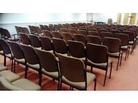 130x Chair. Brown fabric metal framed. Office, conference, school, community hall.