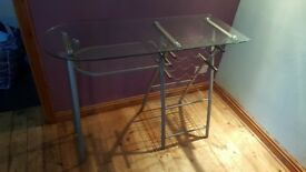 Glass and chrome breakfast bar with stool