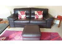 leather 3 seater brown sofa and puffee