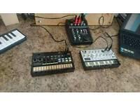 Korg volca beats and korg volca bass with mixer.