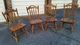 4 LARGE SOLID WOOD CHAIRS