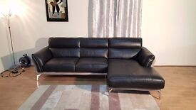 Ex-display Valdez black and grey leather and fabric chaise sofa