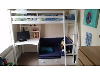 White-Solid pine high sleeper bed. Including memory foam mattress, fold out sofabed, desk & shelves