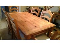 Farmhouse Dining Table and six chairs (inc two carver chairs) 96X159cm. Very solid construction