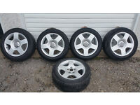 Audi 16 '' alloy wheels + 5 x tyres 205 55 16 ''