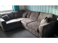 Large DFS grey cord corner settee and cuddle sofa