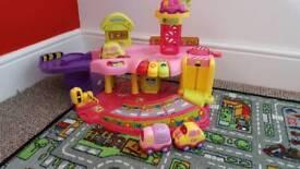 Toot toot car garage pink