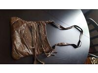 Brown leather boho satchel
