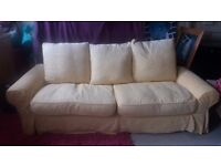 2 three seater sofas good condition, pale yellow, £150 ono, Comfortable