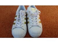 Adidas superstar trainers, size 3 white and gold. Only selling as to small now. Great condition £20
