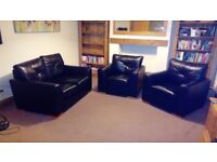 Black leather 2 seater sofa and 2 armchairs