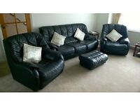 Black Leather 3 Piece Suite and Footstool for Sale