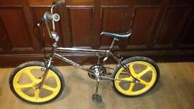 1980s BMX, all chrome and original yellow Mag wheels, new chain and brakes